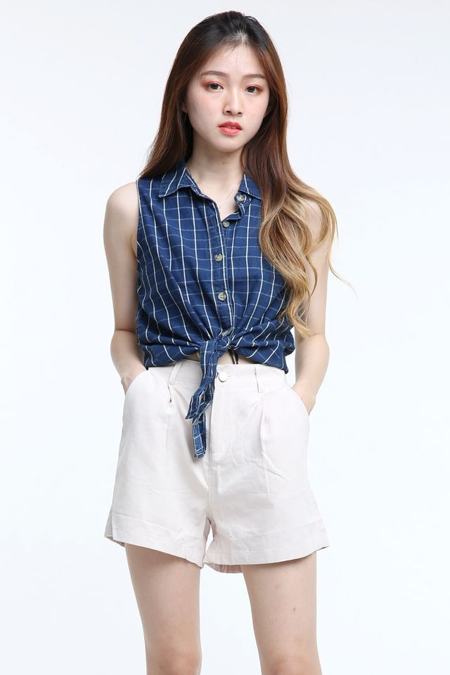 IN STOCK - RAE CHECKERED TOP IN BLUE