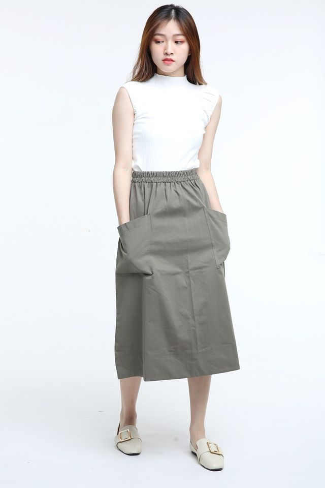 BACKORDER - LOLLY SKIRT IN ARMY GREEN