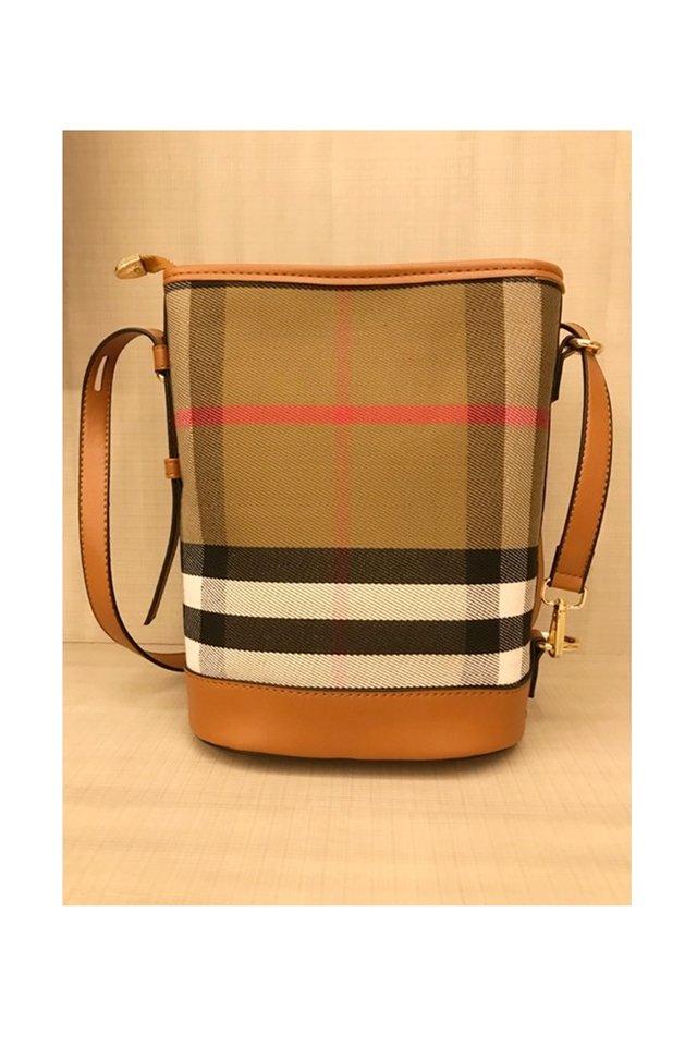 BACKORDER - CHECKERED BUCKET BAG IN BROWN (ZIPPER TYPE)- NOT DR JEWEL