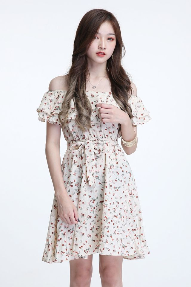 BACKORDER -EMMA FLORAL DRESS IN BEIGH