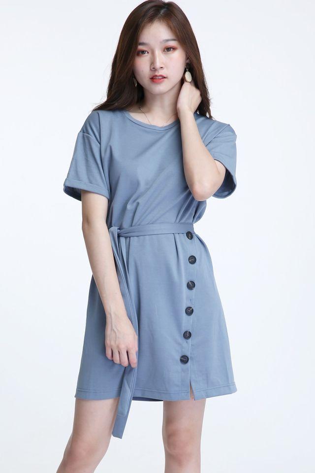 BACKORDER - KAYLY SHIFT DRESS IN BLUE GREY