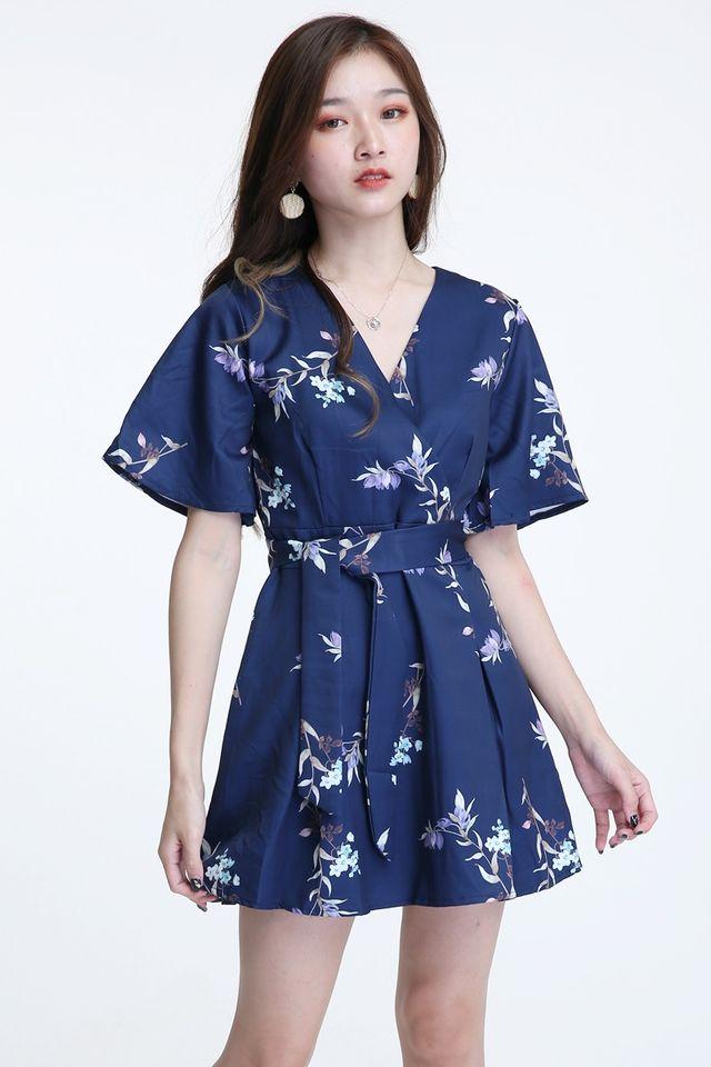 IN STOCK- IDRIS FLORAL DRESS IN DARK BLUE