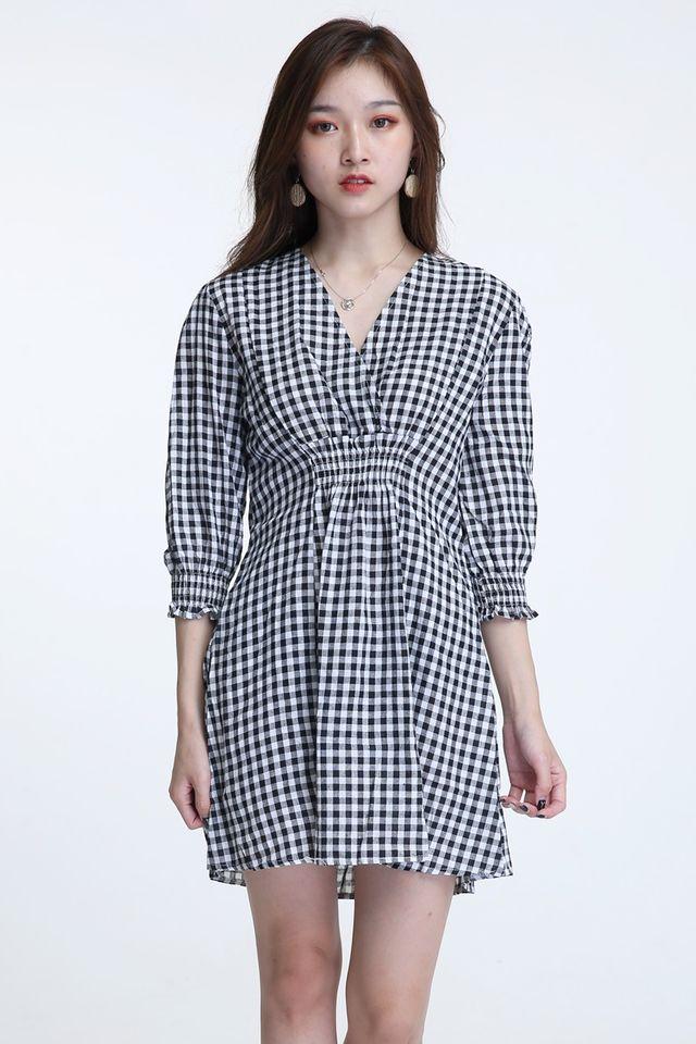 SG IN STOCK- CORA CHECKERED DRESS IN BLACK WHITE
