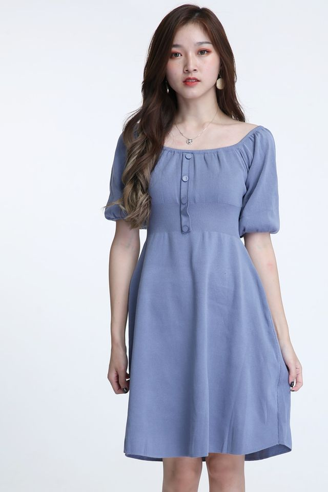 BACKORDER - CAMILA PUFF SLEEVE DRESS IN BLUE