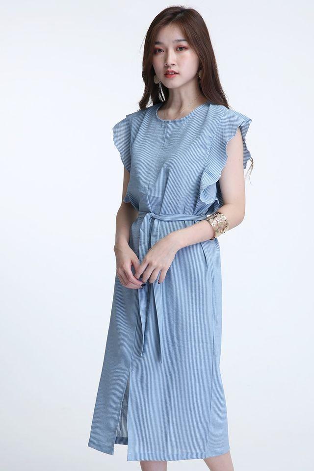 BACKORDER - AUBREE STRIPES DRESS IN BLUE