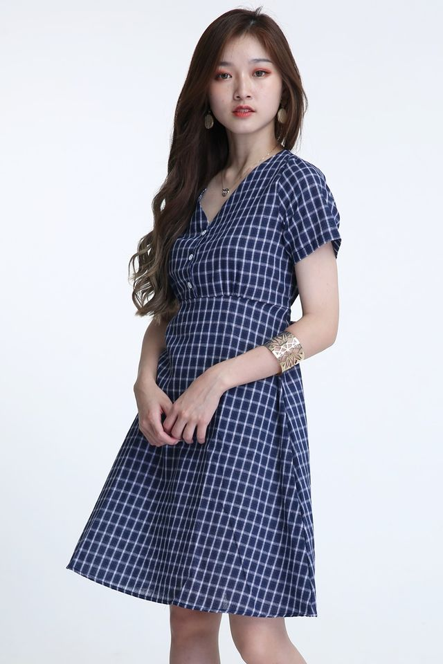 BACkORDER- GIANNA CHECKERED DRESS IN BLUE