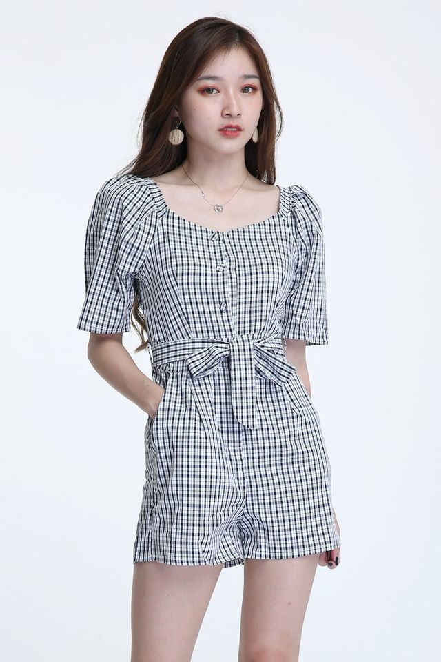BACKORDER - TOMIO CHECKERED ROMPER IN BLACK WHITE