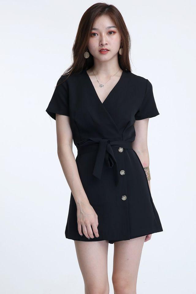 IN STOCK - BROGAN ROMPER DRESS IN BLACK COLOUR