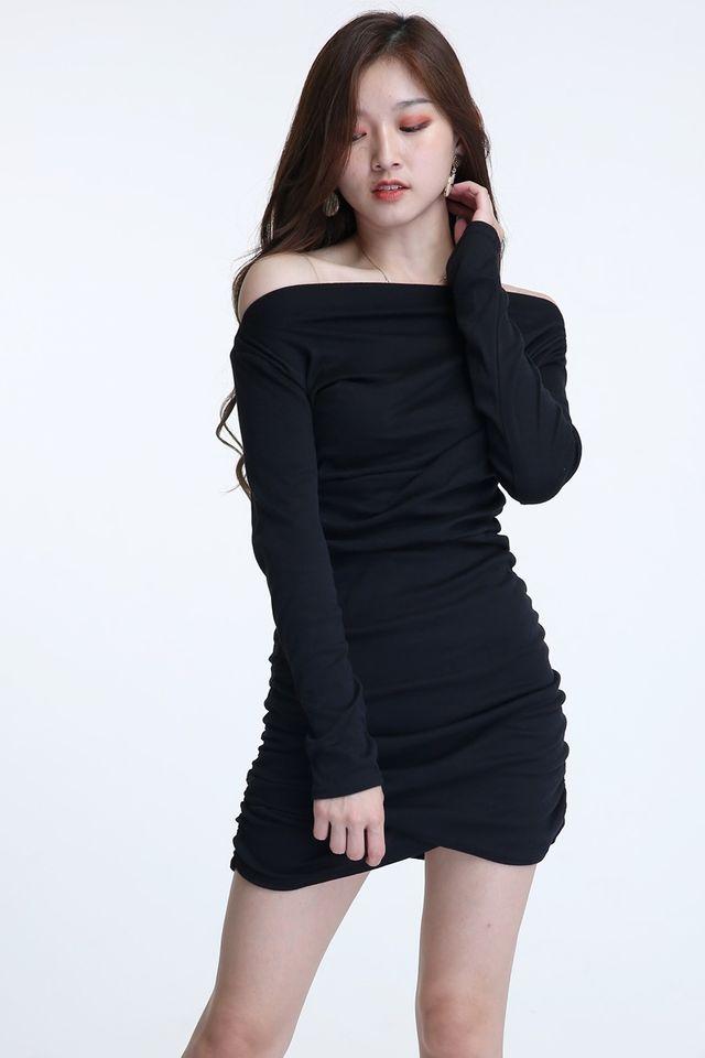 BACKORDER - HENA RUCHED DRESS IN BLACK