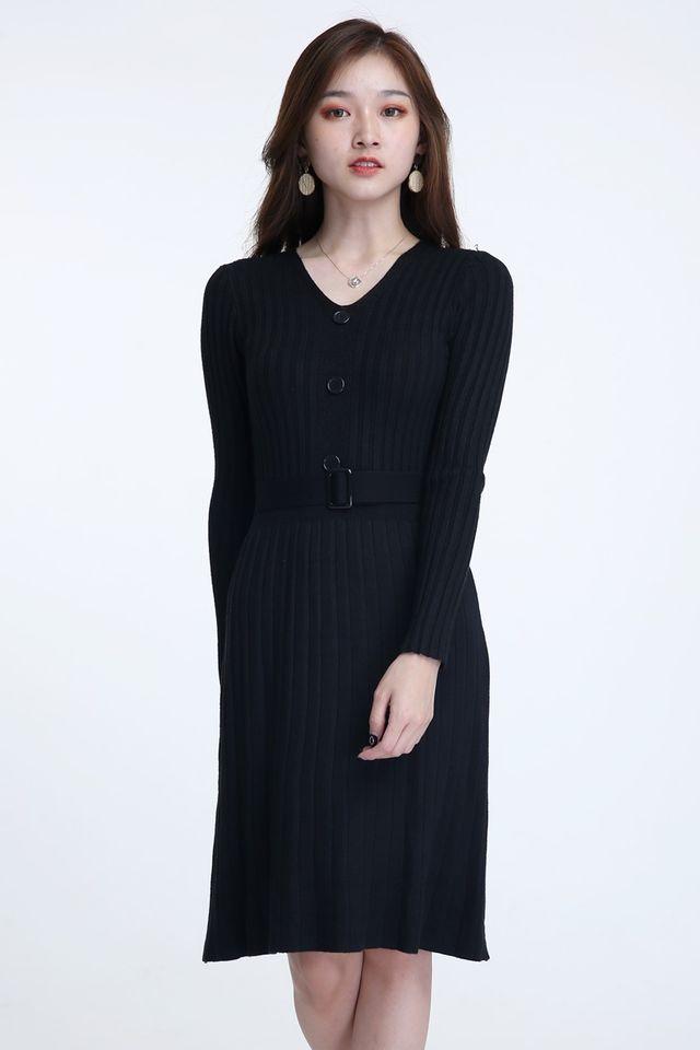 BACKORDER - HARLEM KNIT DRESS IN BLACK