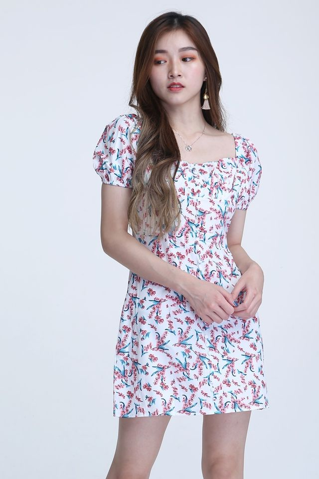 BACKORDER- AINI FLORAL DRESS IN PINK WHITE