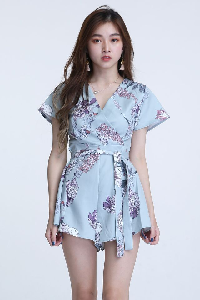 IN STOCk- VINCENT FLORAL ROMPER IN LIGHT GREEN