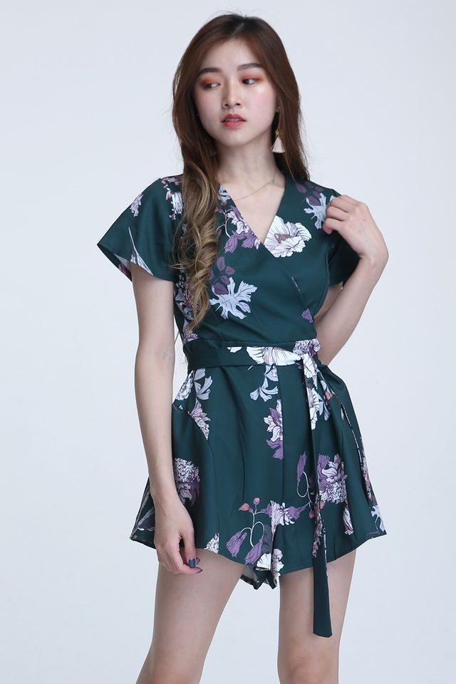 BACKORDER - VINCENT FLORAL ROMPER IN DARK GREEN