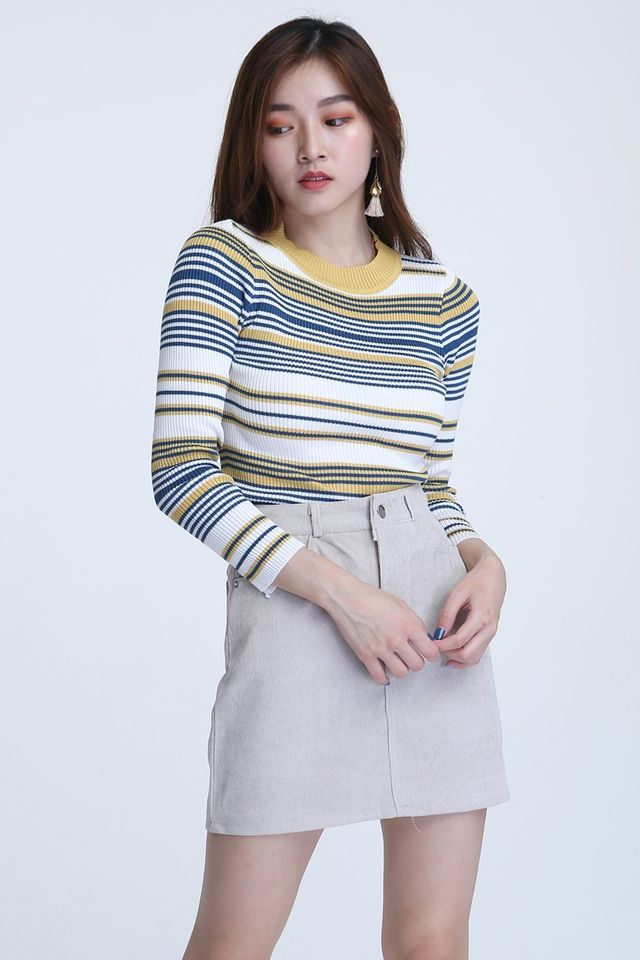 BACKORDER - ATALIE STRIPES TOP IN YELLOW STRIPES