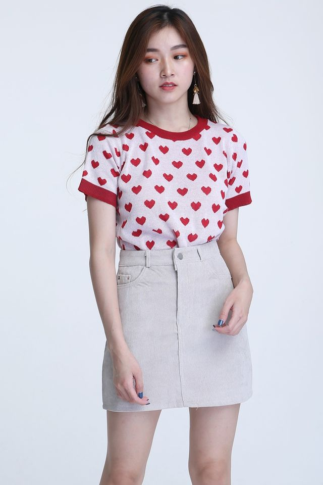 BACkORDER - HEART SHAPE TOP IN RED PINK