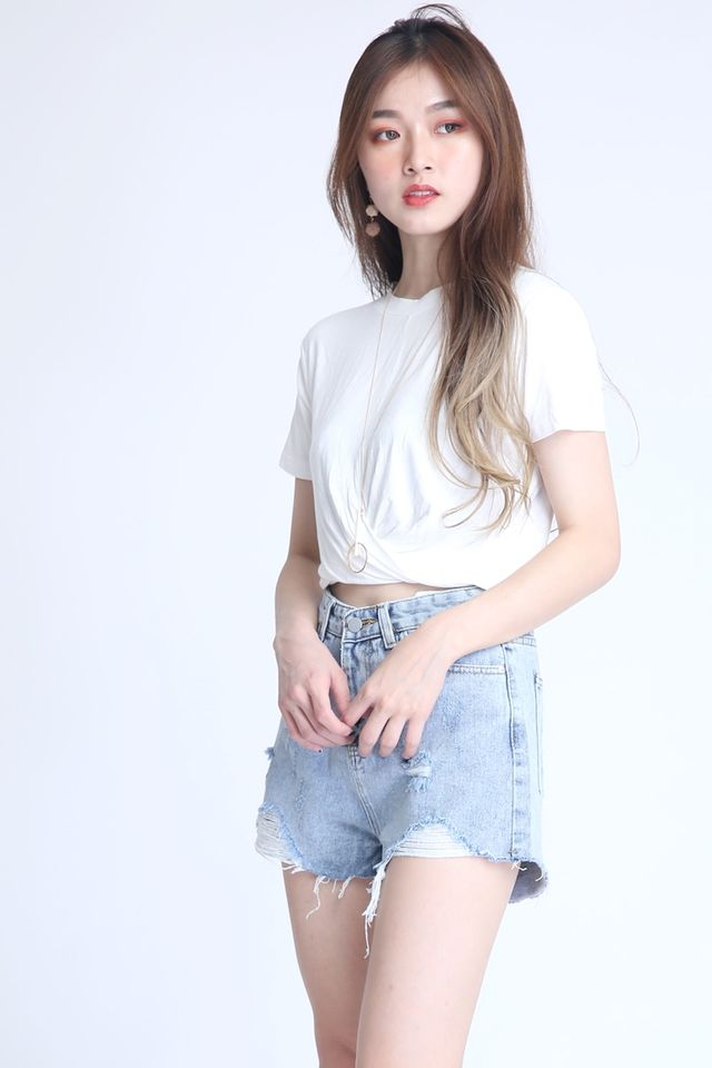 BACKORDER- NEVIN CROP TOP IN WHITE