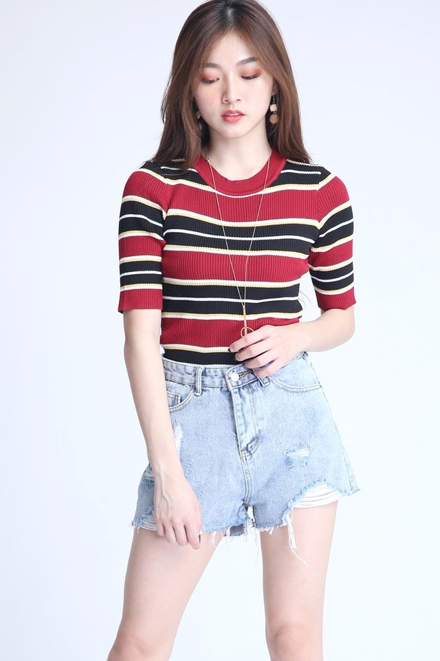 IN STOCK - GAHO STRIPES TOP IN MAROON