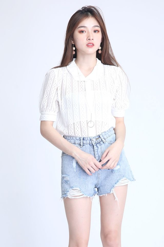 BACKORDER - HEDY  LACE TOPIN WHITE