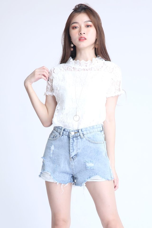 BACKORDER- GEM LACE TOP IN WHITE