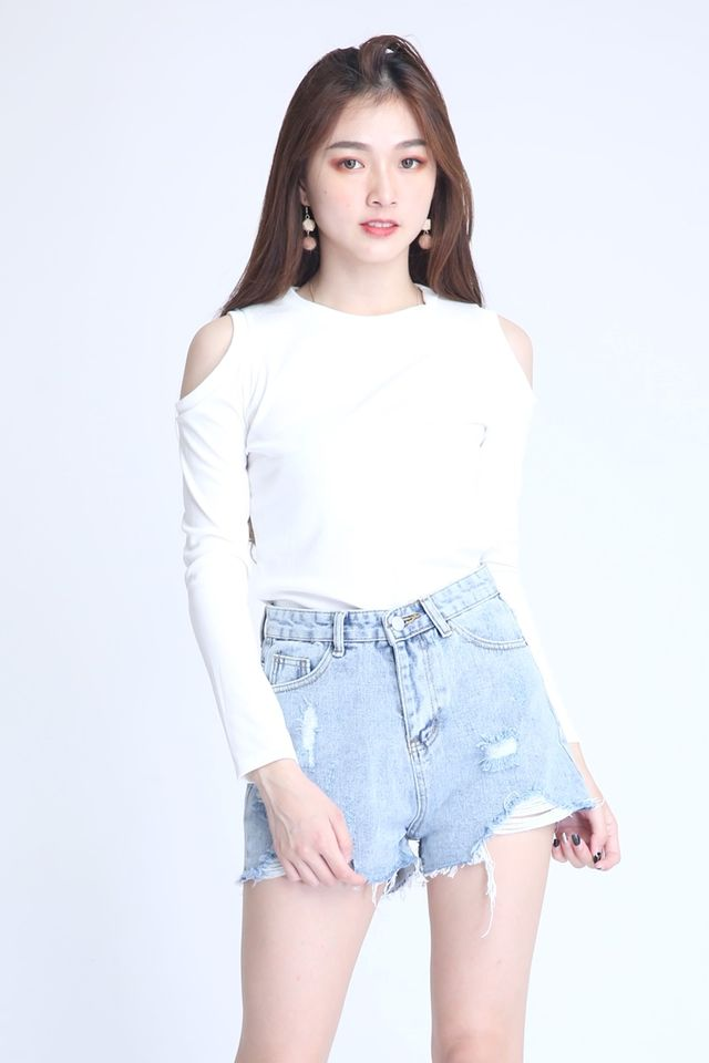 IN STOCK  - GAMILA CUT OUT TOP IN WHITE