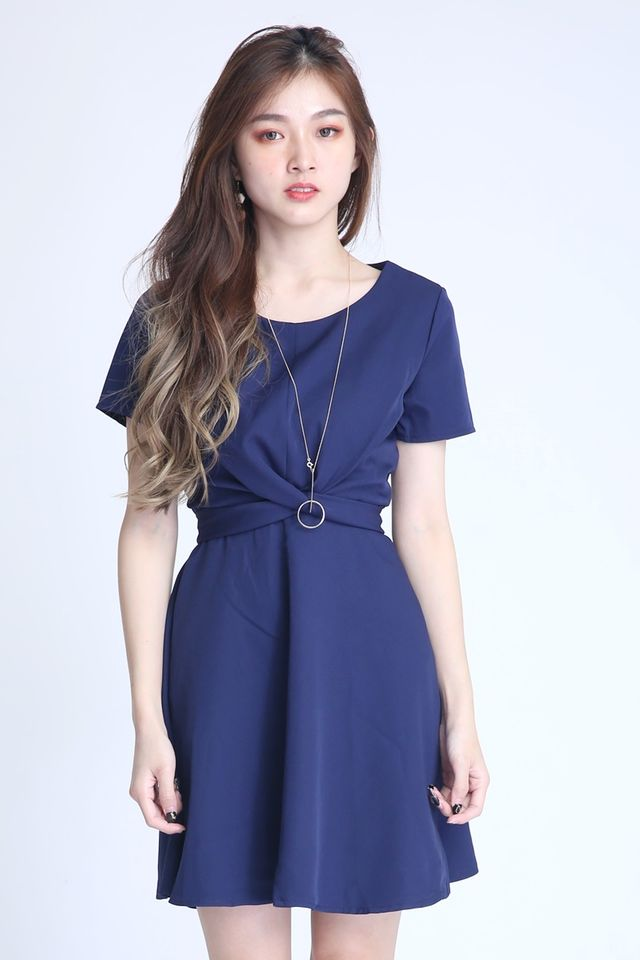 BACKORDER - PAULINE CROSS TIE DRESS IN BLUE