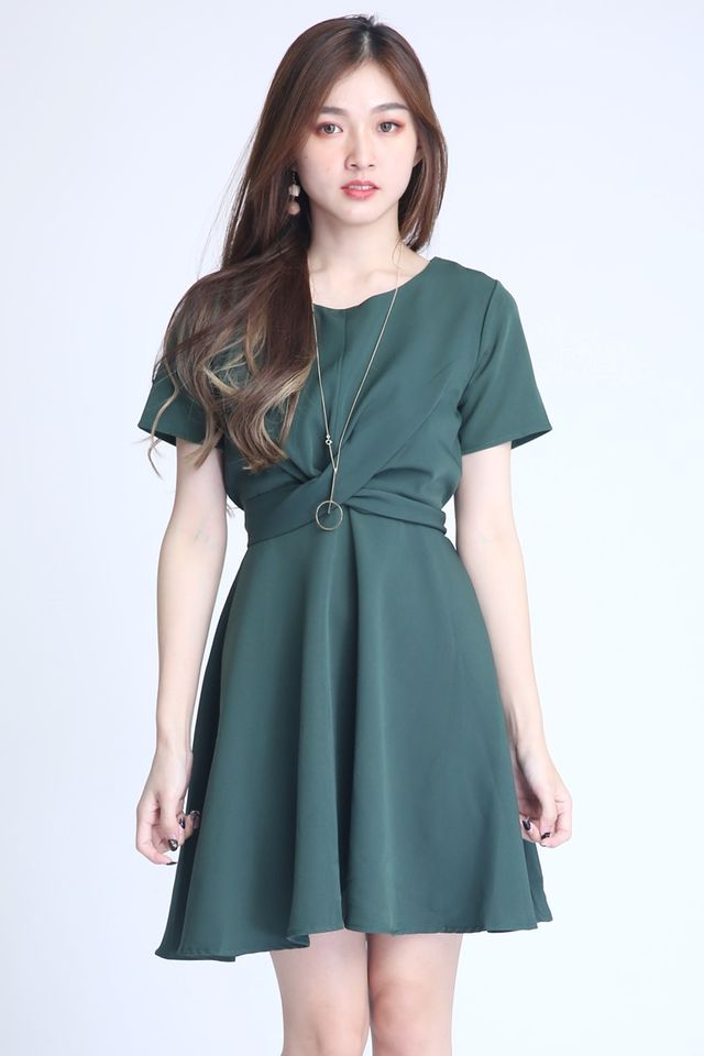 BACKORDER   -PAULINE CROSS TIE DRESS IN GREEN