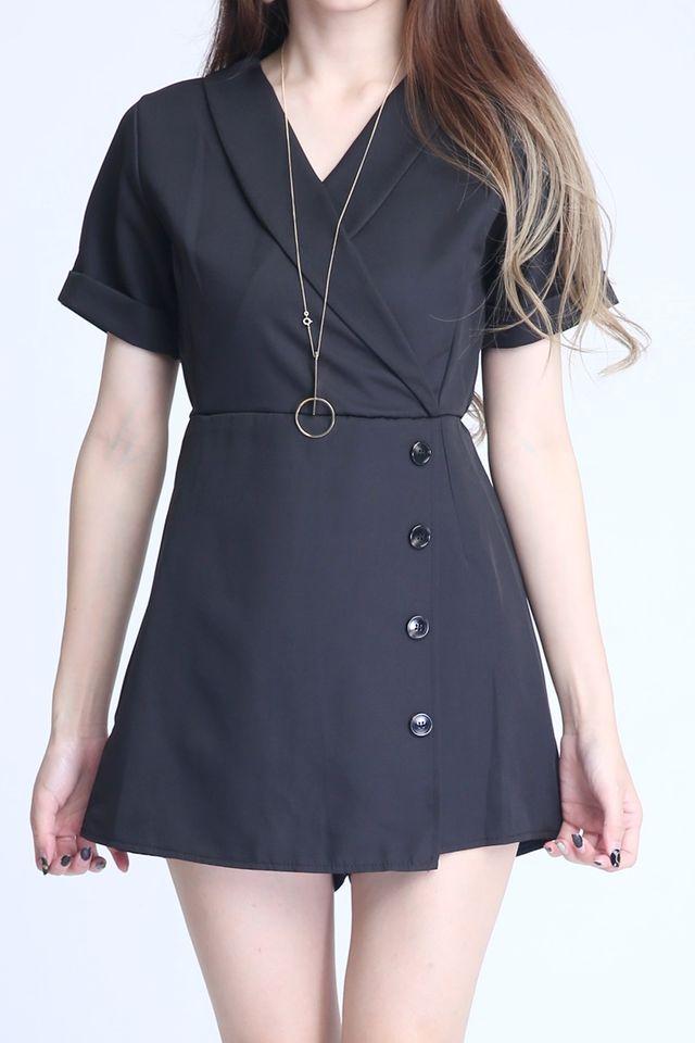 BACKORDER - HALSEY ROMPER DRESS IN BLACK