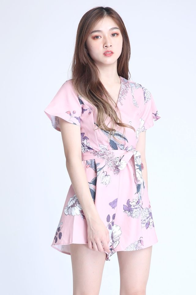 IN STOCK  - VINCENT FLORAL ROMPER IN PINK