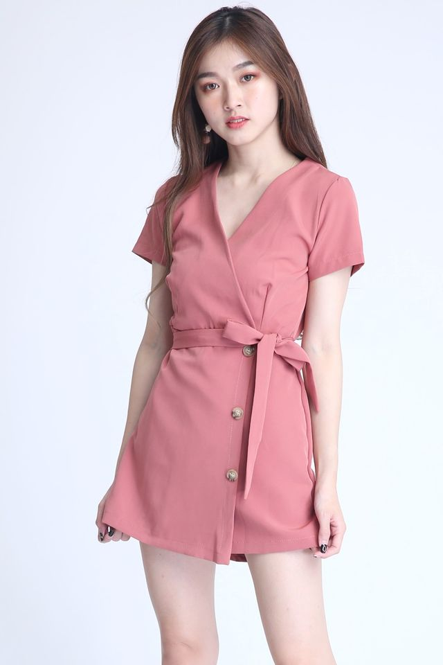 IN STOCK - BROGAN ROMPER DRESS IN PINK