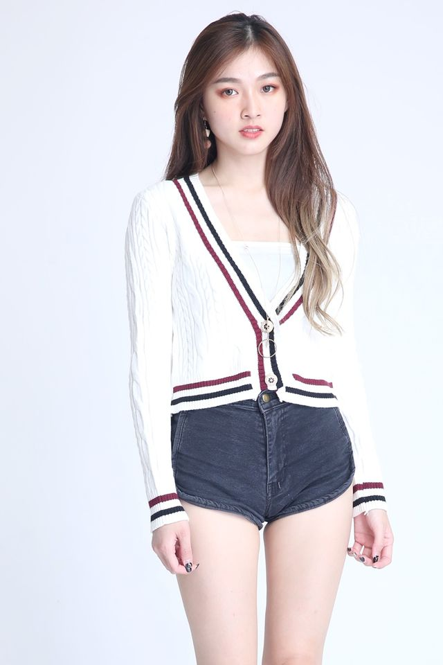 BACKORDER-CABLE KNIT CARDIGAN IN WHITE