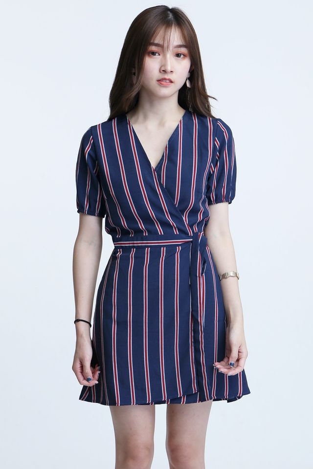 IN STOCK- CORENE STRIPES DRESS IN BLUE RED