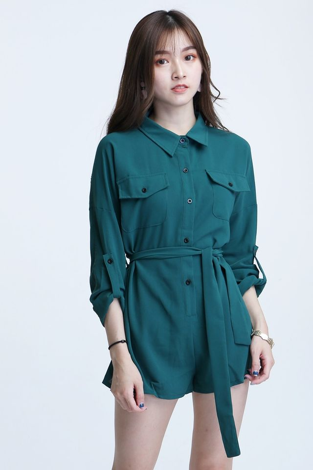 IN STOCK - SELMA ROMPER IN GREEN(LONG SLEEVE)