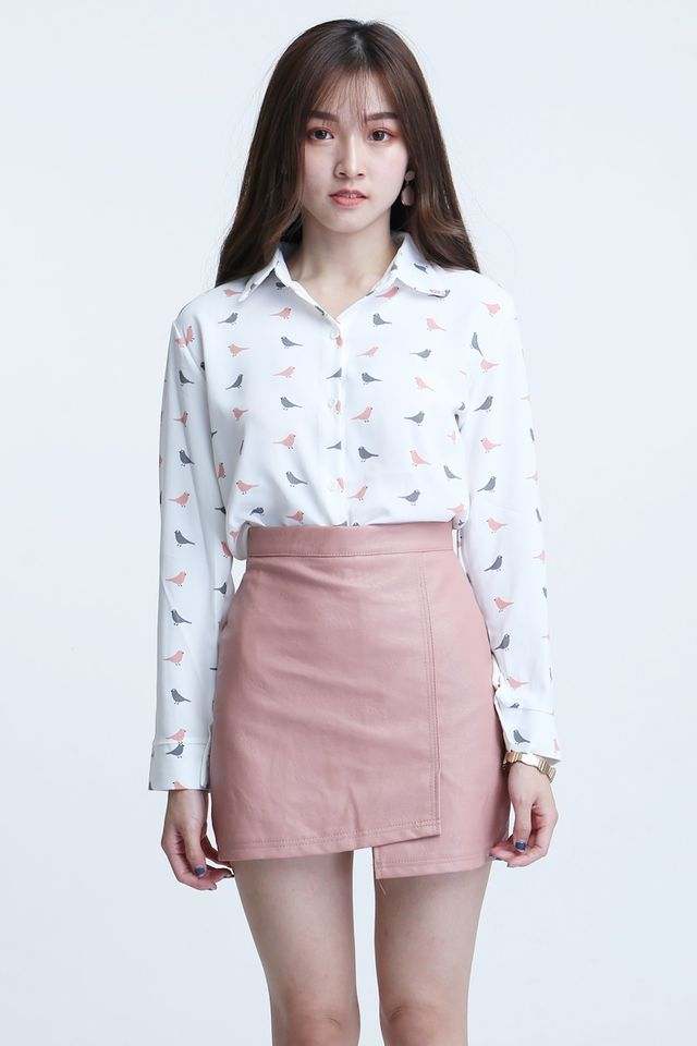 BACKORDER - ESTHER FAUX LEATHER SKIRT IN PINK