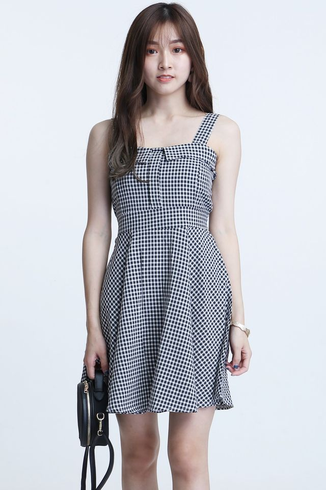 SG IN STOCK - ALOY CHECKERED DRESS IN BLACK