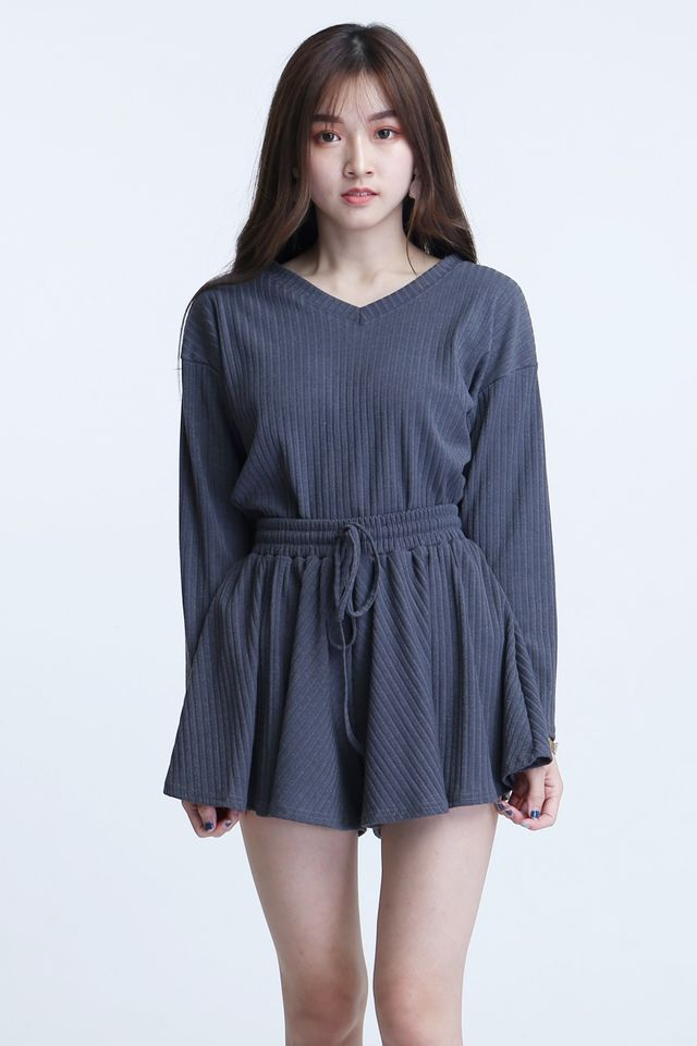 BACKORDER- AVERIE TOP AND BOTTON SET IN DARK GREY