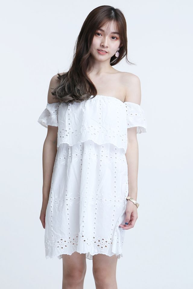 BACKORDER - NASH CROCHET DRESS IN WHITE