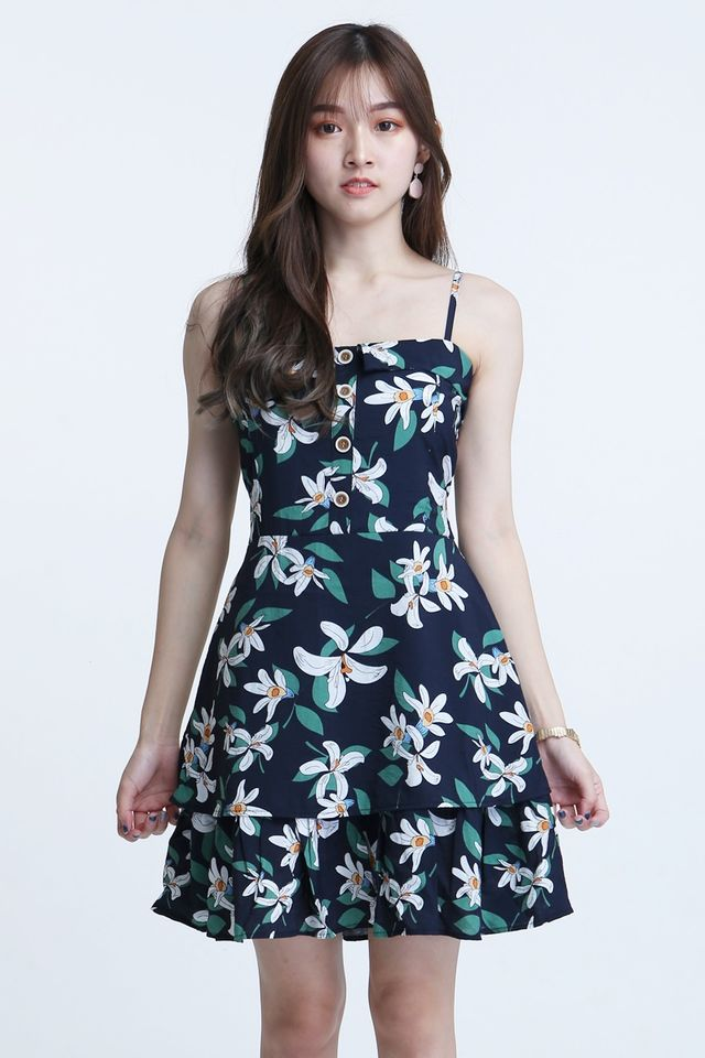 IN STOCK- ZAINE FLORAL SPAG DRESS