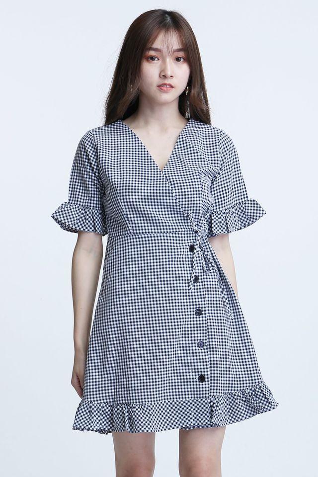 BACKORDER - JANIYA CHECKERED DRESS IN BLACK WHITE