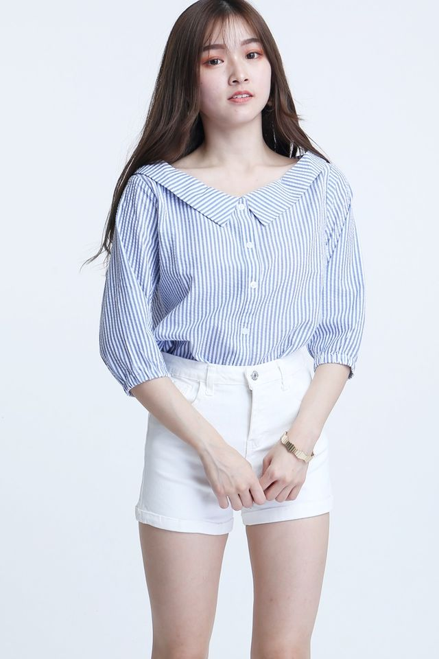 IN STOCK- NANDY BLOUSE IN BLUE WHITE