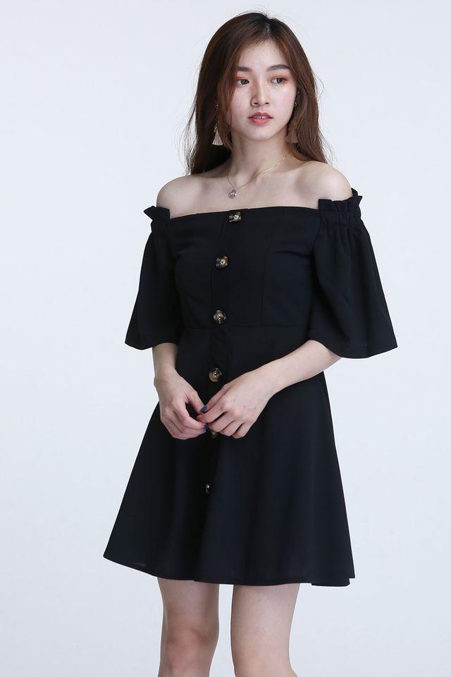 IN STOCK - ASTA OFF SHOULDER DRESS IN BLACK