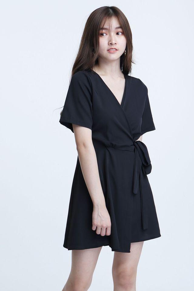 SG IN STOCK- CHRISTIAN WRAP DRESS IN BLACK