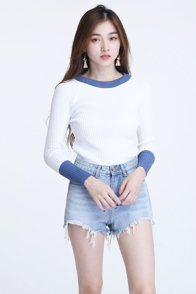 BACKORDER - CALEB KNIT TOP IN WHITE BLUE