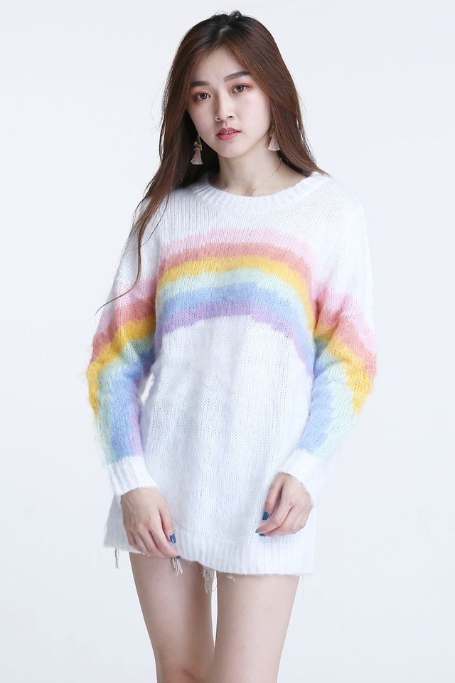 BACKORDER- LAVEAN RAINBOW KNIT TOP IN WHITE