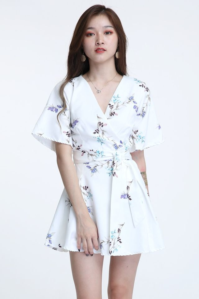 BACKORDER - IDRIS FLORAL DRESS IN WHITE