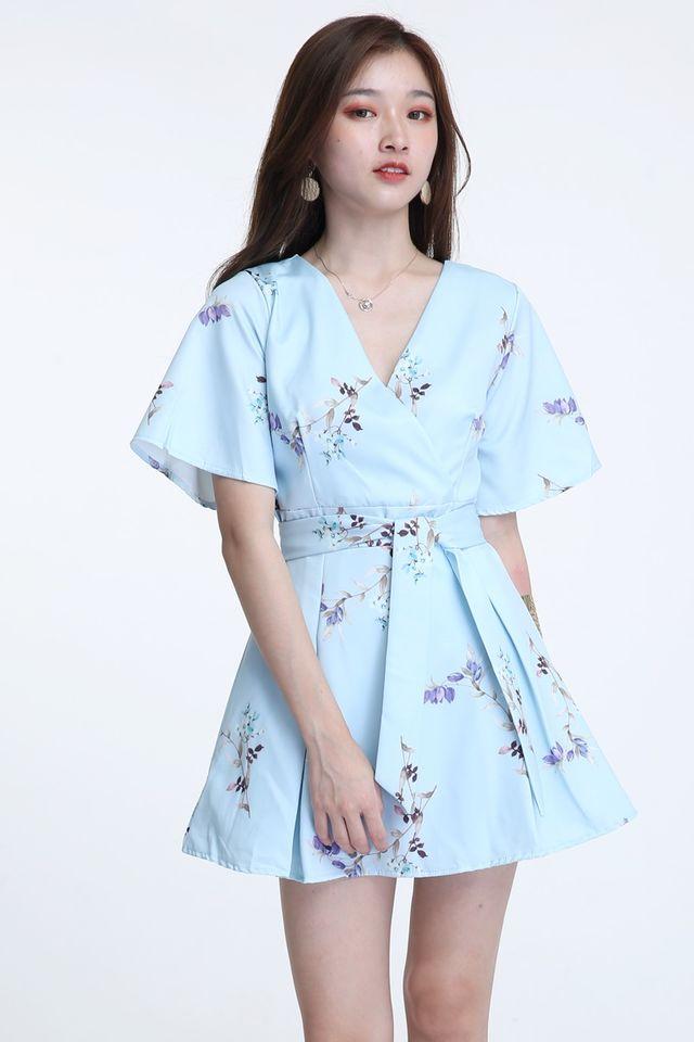 BACKORDER- IDRIS FLORAL DRESS IN LIGHT BLUE
