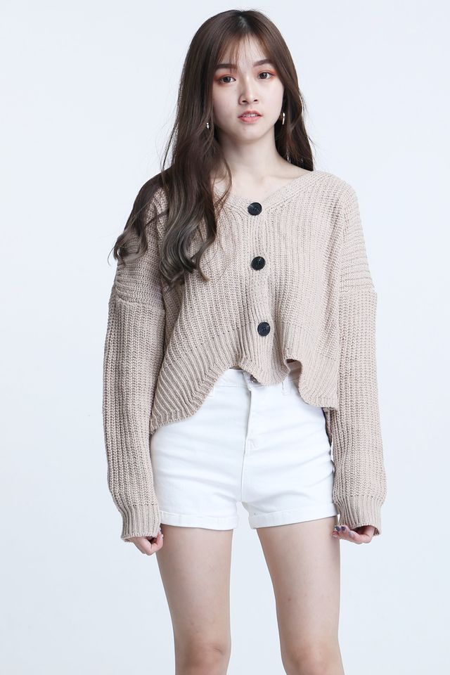 SG IN STOCK - BRUNO KNIT CARDIGAN IN BEIGH BROWN