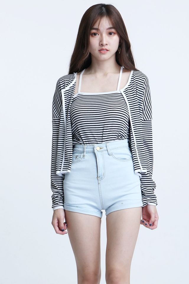 BACKORDER - ALISON TOP AND OUTWEAR SET IN STRIPES