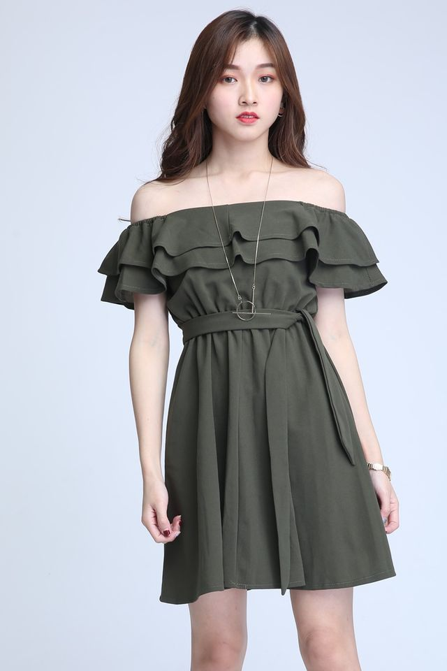 IN STOCK - GAYLA OFF SHOULDER DRESS IN GREEN
