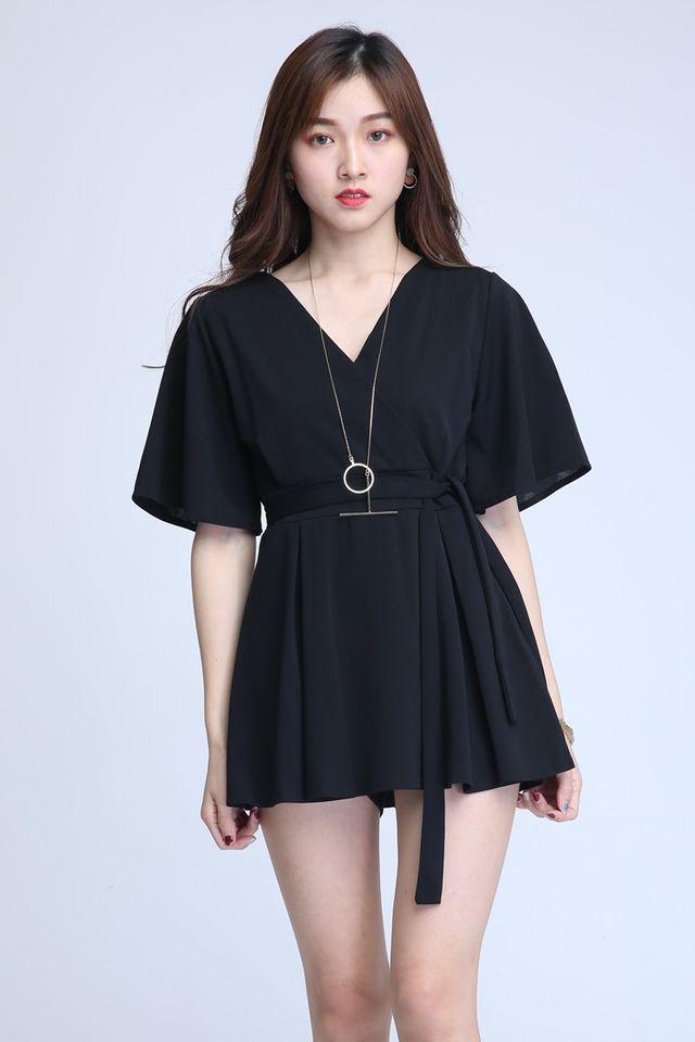 BACKORDER- SEBASTIAN ROMPER DRESS IN BLACK