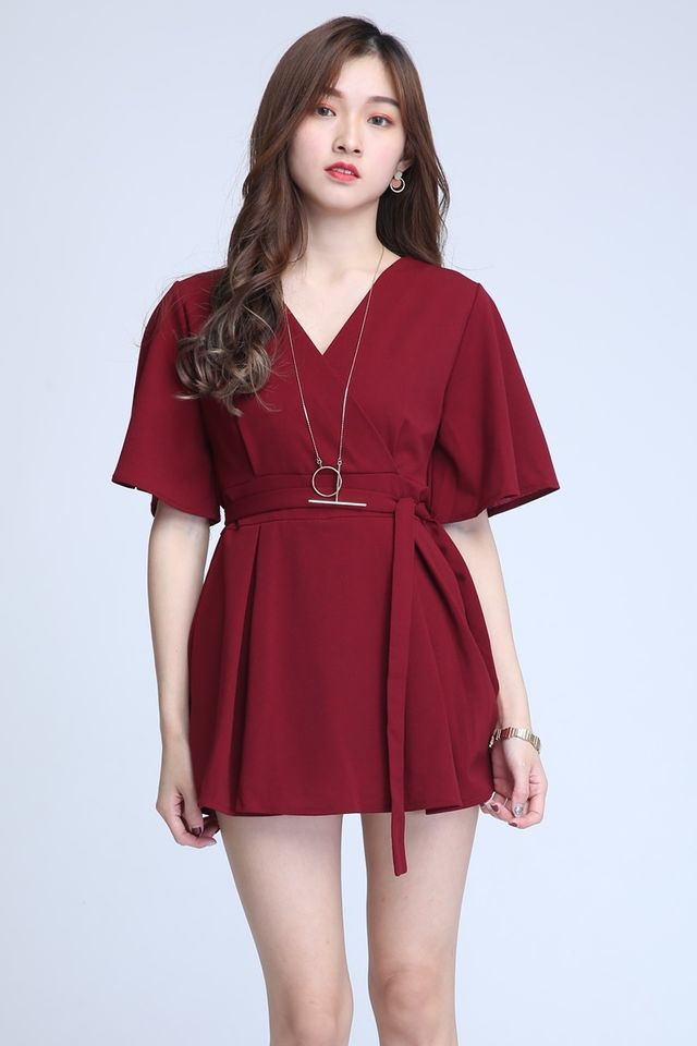 SG IN STOCK- SEBASTIAN ROMPER DRESS IN MAROON